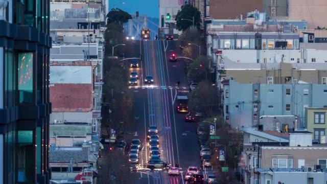 サンフランシスコのカリフォルニアストリートのタイムラプス - カリフォルニアストリート点の映像素材/bロール
