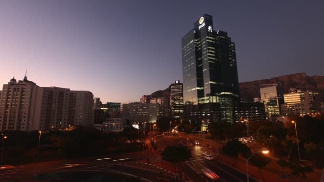 Timelapse of Cape Town on Friday June 12 2015 The tallest building in Cape Town called Portside stands proud under a clear morning sky The famous...