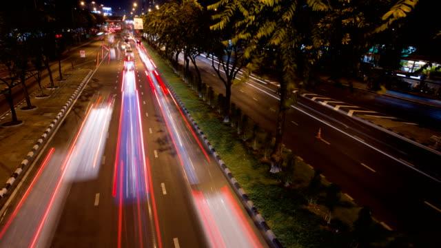 4K Timelapse of car light trail at street night.