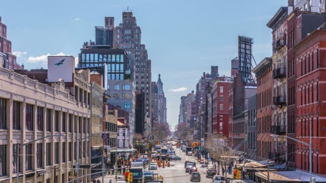 timelapse of cars in an avenue in manhattan, new york, usa - avenue stock videos & royalty-free footage