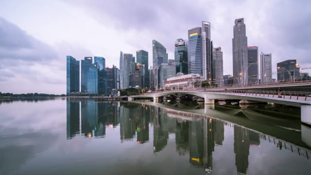time-lapse of central business district building of singapore city - singapore stock videos & royalty-free footage