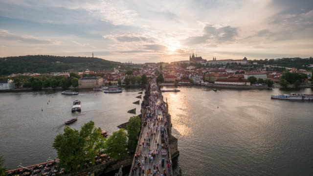 Timelapse of Charles bridge in sunset, Prague