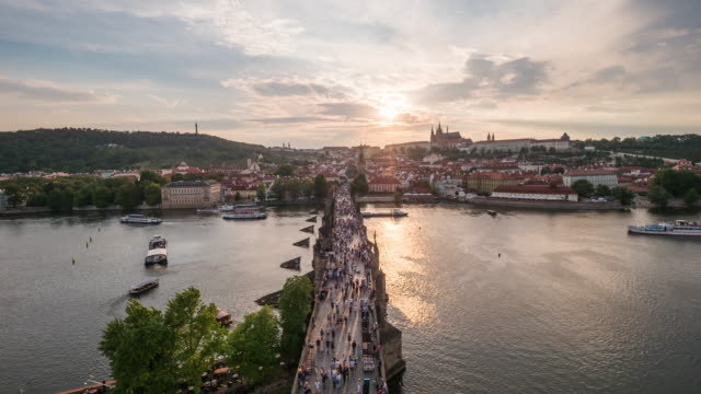 timelapse of charles bridge in sunset, prague - traditionally czech stock videos & royalty-free footage