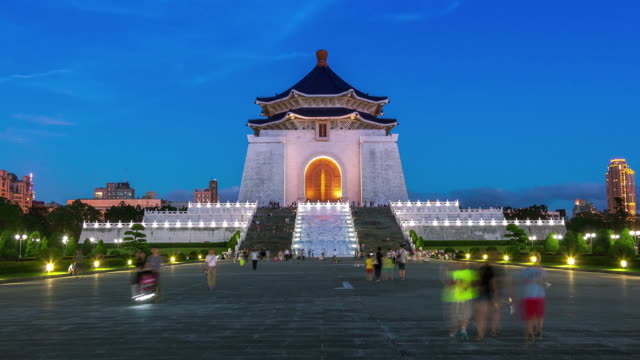timelapse of chiang kai-shek memorial hall  at night - taiwan stock videos and b-roll footage