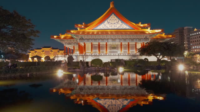 timelapse of chiang kai-shek memorial hall, taipei, taiwan - chiang kaishek memorial hall stock videos & royalty-free footage
