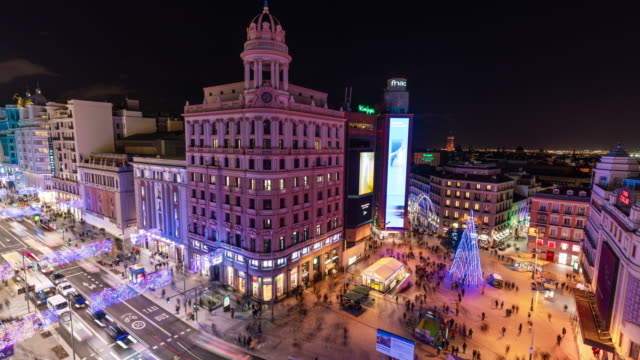 Timelapse of christmas light at Callao in  Madrid from terrace