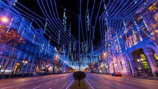 Timelapse of christmas light in Calle de Alcala in Madrid