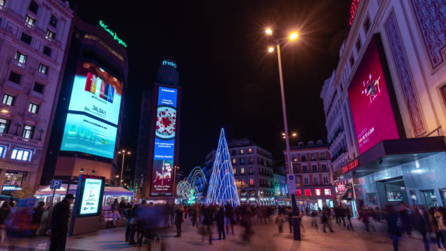 Timelapse of christmas light in Madrid at Callao