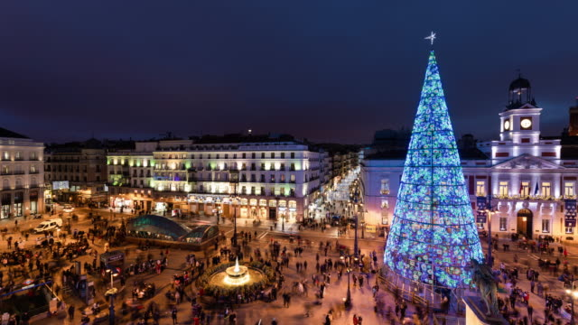 Timelapse of christmas light in puerta del Sol from a terrace in Madrid