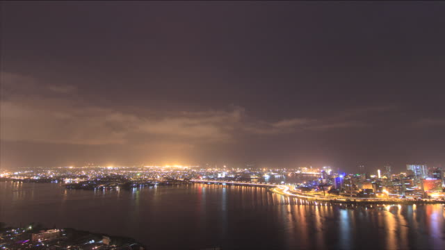 time-lapse of city at night/ abidjan/ ivory coast - côte d'ivoire stock videos & royalty-free footage