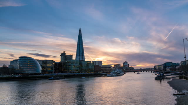 london: timelapse of city hall and the shard at sunset - river thames stock videos & royalty-free footage