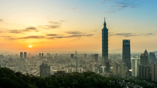 Timelapse of City of Taipei from day to night