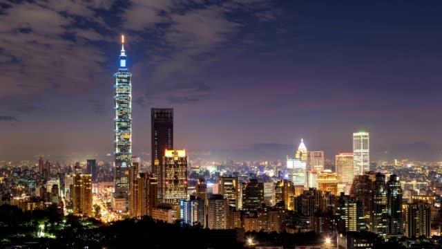 Zeitraffer der Stadt Taipie in der Nacht