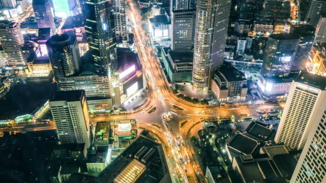 timelapse of city traffic at night - nanjing stock-videos und b-roll-filmmaterial