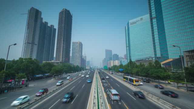Timelapse of City Traffic with Inifinite View of Road, Beijing, China