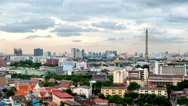 timelapse of cityscape with temple and landmark bridge beside chao phraya river at bangkok - river chao phraya stock videos & royalty-free footage