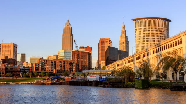 timelapse of cleveland skyline sunset - cleveland ohio stock videos and b-roll footage