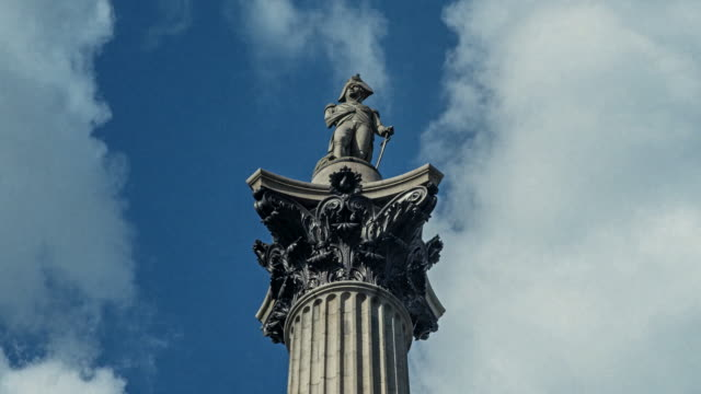 Time-lapse of close-up of Nelson's Column, Trafalgar Square, London, UK