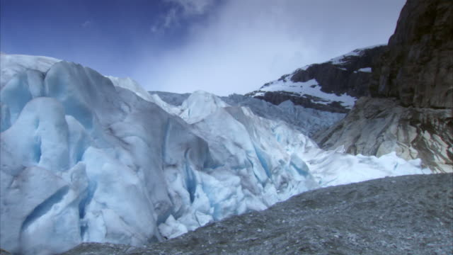 Time-lapse of cloud shadows moving over Nigardsbreen glacier