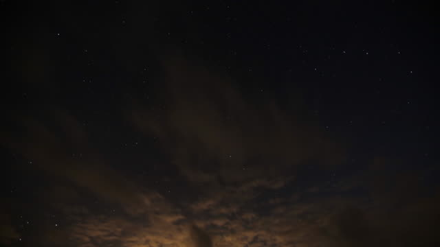 Time-lapse of clouds on a star lit night