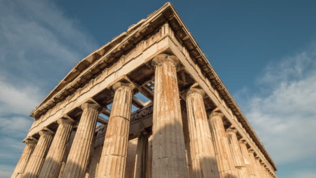 timelapse of clouds over hephaestus temple, zoom out - athens greece stock videos & royalty-free footage
