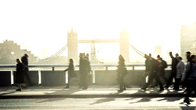 Time-lapse of commuters crossing London Bridge at rush hour