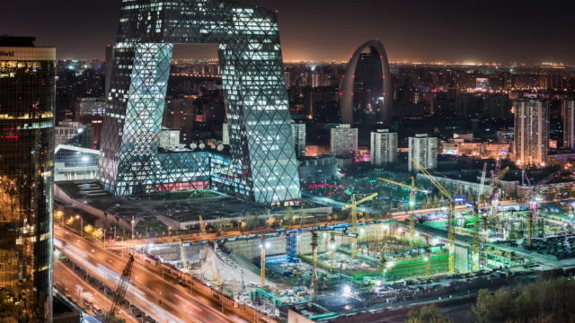 timelapse of construction site infront of CTV tower in Beijing