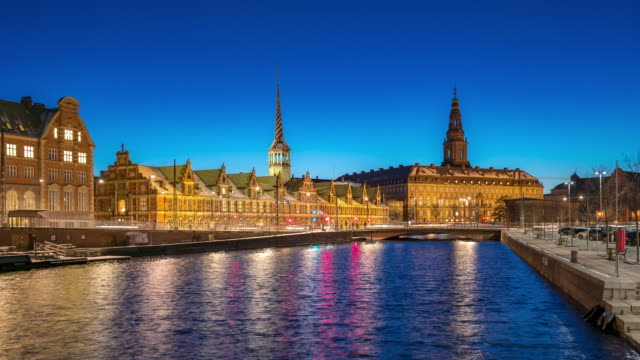 time-lapse of copenhagen denmark cityscape - copenhagen video stock e b–roll