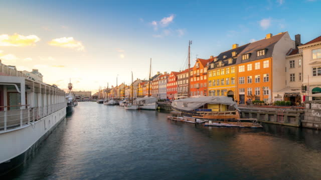 time-lapse of copenhagen nyhavn new port of denmark - copenhagen stock videos and b-roll footage