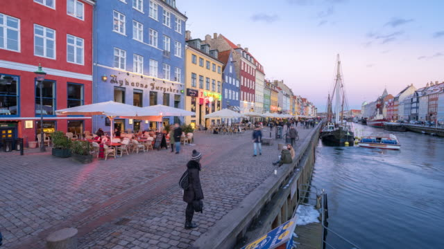 time-lapse of copenhagen nyhavn new port of denmark - copenhagen stock videos & royalty-free footage