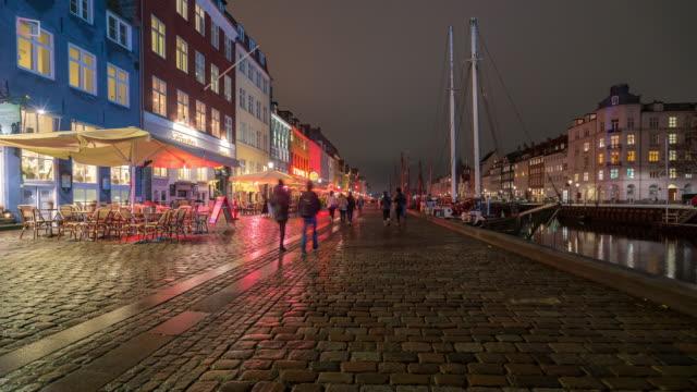 Time-lapse van Kopenhagen Nyhavn nieuwe haven van Denemarken