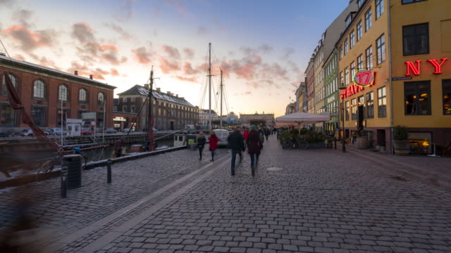 time-lapse of copenhagen nyhavn new port of denmark - public building stock videos and b-roll footage