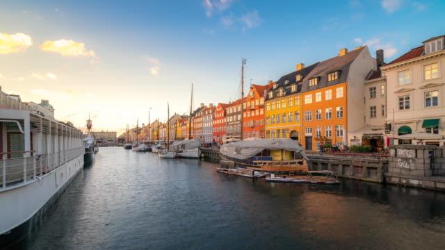 time-lapse of copenhagen nyhavn new port of denmark - copenhagen stock videos & royalty-free footage