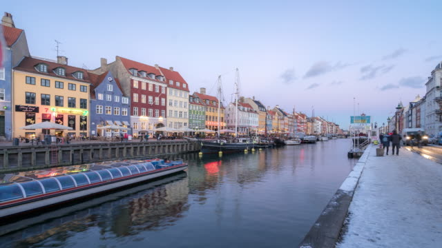 Time-lapse van nyhavn nieuwe haven van Kopenhagen