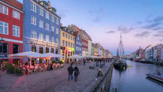Time-lapse of Copenhagen nyhavn new port of Denmark