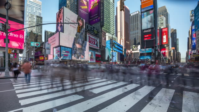 timelapse of crosswalk at the famous times square, new york. usa, 2017 - manhattan theater district stock videos and b-roll footage
