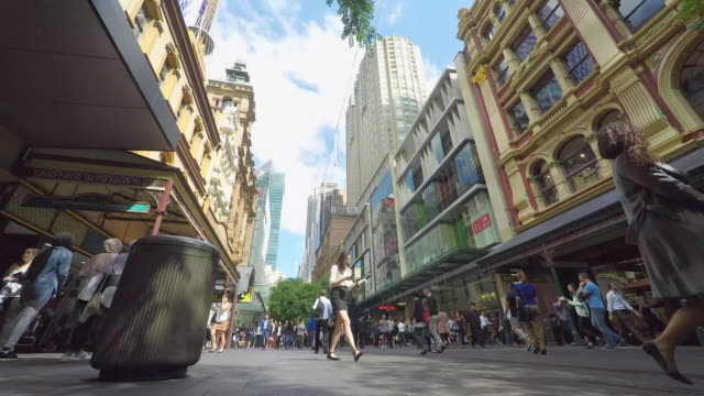 timelapse of crowd of people walking in the pitt street mall in sydney - urban road stock videos & royalty-free footage