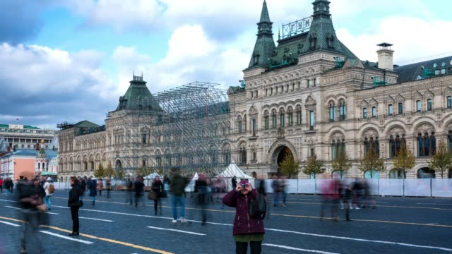 timelapse of crowd people in Red Square city square in Moscow
