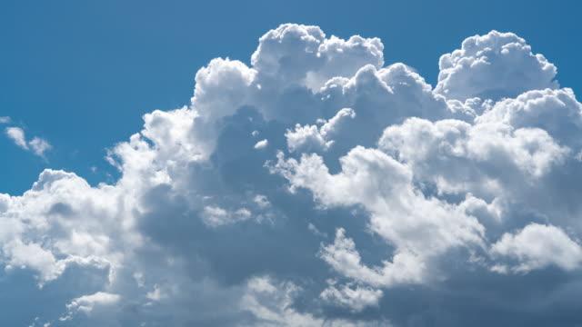 timelapse of cumulonimbus cloud in blue sky at day time - cumulonimbus stock videos & royalty-free footage