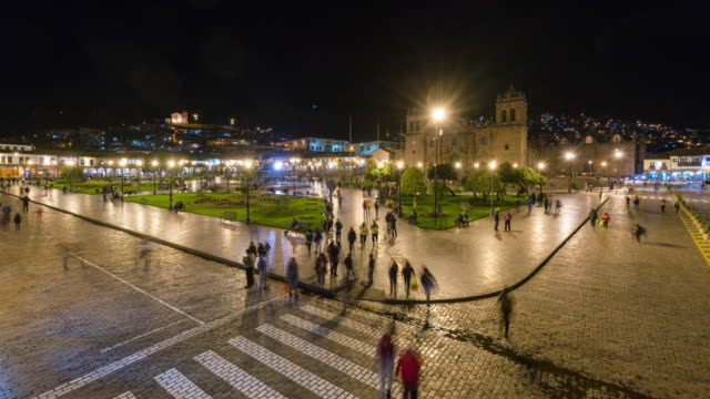 Timelapse of Cusco at night in the main square