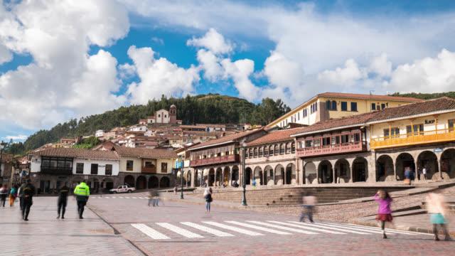 timelapse of cusco main square, plaza de la armas - machu picchu stock videos & royalty-free footage