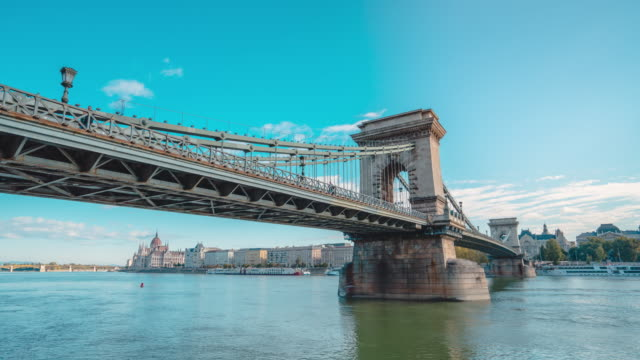 timelapse of danube river and chain bridge in morning in budapest - royal palace of buda stock videos & royalty-free footage
