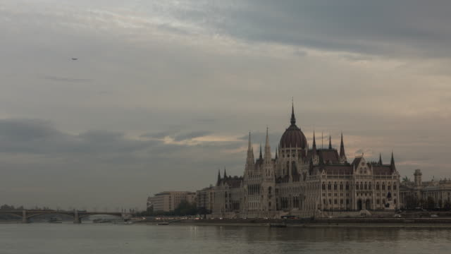 Timelapse of Danube River and Hungarian Parliament Building