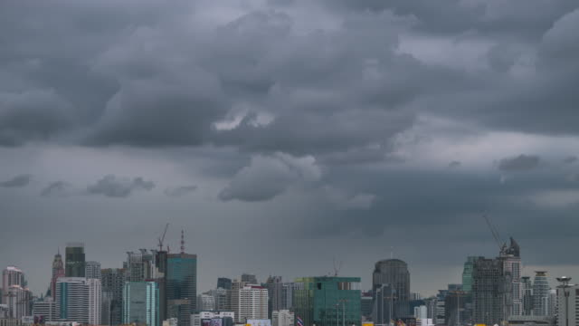 Timelapse of dark clouds is coming in the city