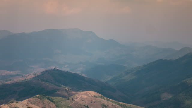 Time-lapse of deforested on mountain , 4k (UHD)
