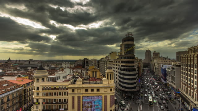 Timelapse of Dramatic Sky over Plaza Callao, Madrid