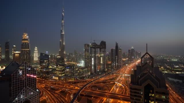 Timelapse of Dubai skyline during sunset blue hour