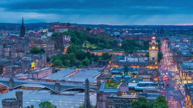 Timelapse of Edinburgh, Including the Castle, at Night