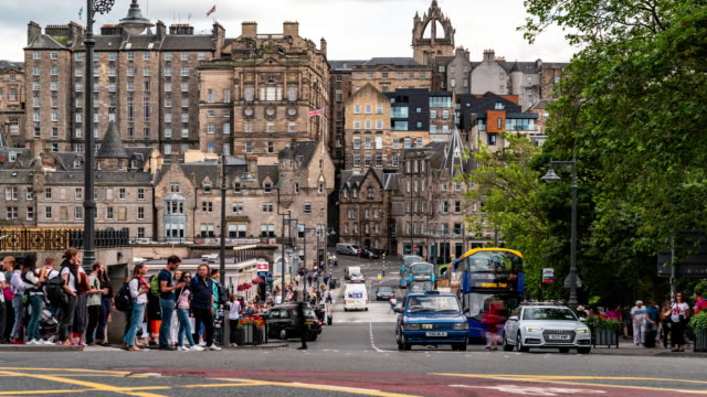 time-lapse of edinburgh old town in scotland uk - old town stock videos & royalty-free footage