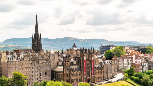 time-lapse of edinburgh old town in scotland uk - edinburgh scotland stock videos & royalty-free footage